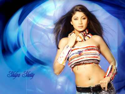 Cool blue background with Shilpa looking hot